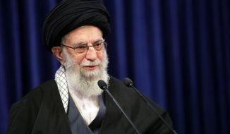 FILE - In this picture released by an official website of the office of the Iranian supreme leader, Supreme Leader Ayatollah Ali Khamenei addresses the nation in a televised speech in Tehran, Iran, Friday, Jan. 8, 2021. in Tehran, Iran.  Twitter says on Friday, Jan. 22, it has permanently banned an account connected to the office of Iran's supreme leader.   Other accounts thought to be tied to Supreme Leader Ayatollah Ali Khamenei's office remained active.  (Office of the Iranian Supreme Leader via AP)