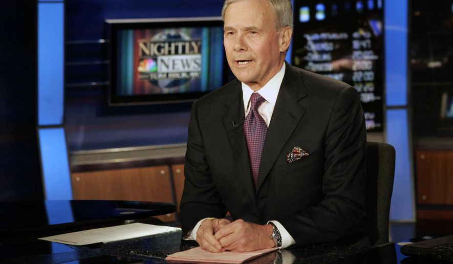 """FILE - """"NBC Nightly News"""" anchor Tom Brokaw delivers his closing remarks during his final broadcast, in New York on Dec. 1, 2004. Brokaw says he is retiring from NBC News after working at the network for 55 years. The author of """"The Greatest Generation"""" is now 80 years old and his television appearances have been limited in recent years as he fought cancer. He says he will continue writing books and articles. (AP Photo/Richard Drew, File)"""