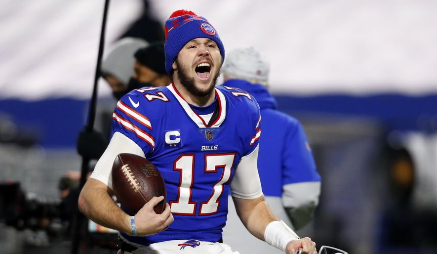 Buffalo Bills quarterback Josh Allen (17) celebrates after an NFL divisional round football game against the Baltimore Ravens Saturday, Jan. 16, 2021, in Orchard Park, N.Y. The Bills won 17-3. (AP Photo/Jeffrey T. Barnes) **FILE**