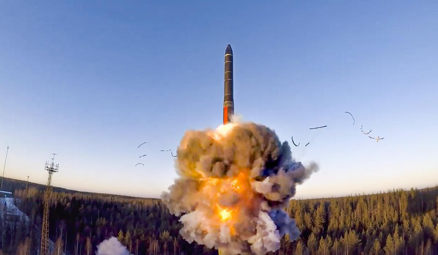 In this file photo taken from a video distributed by the Russian Defense Ministry Press Service, on Wednesday, Dec. 9, 2020, a rocket launches from a missile system as part of the drills, a ground-based intercontinental ballistic missile was launched from the Plesetsk facility in northwestern Russia. (Russian Defense Ministry Press Service via AP, File)