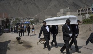 """Funeral home workers carry the coffin of Pedro Miguel Infante Vilchez, 80, who died from COVID-19, to the """"Martires 19 de Julio"""" cemetery in Comas, on the outskirts of Lima, Peru, Thursday, Jan. 21, 2021. (AP Photo/Rodrigo Abd)"""