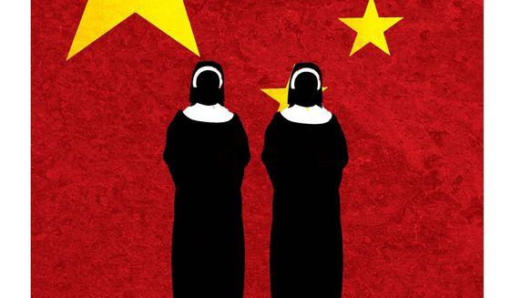 Illustration on Communist China and Catholicism by Alexander Hunter/The Washington times