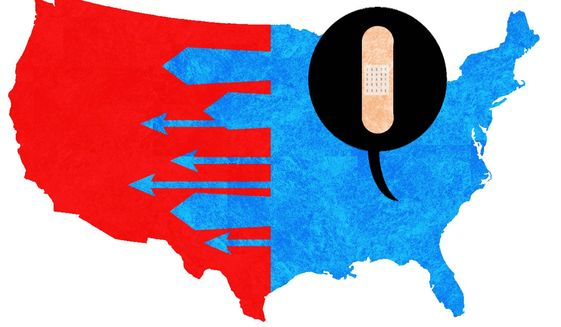 Illustration on  the left's call to heal and unite by Alexander Hunter/The Washington Times