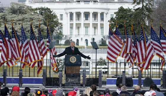 In this Jan. 6, 2021, file photo with the White House in the background, President Donald Trump speaks at a rally in Washington. (AP Photo/Jacquelyn Martin, File)
