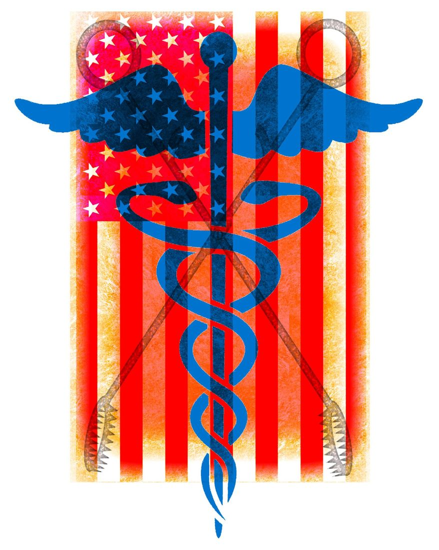 Illustration on abortion and national health care by Alexander Hunter/The Washington Times