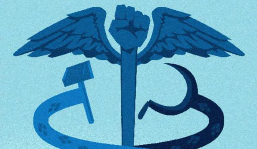 Illustration on health care under Biden by Linas Garsys/The Washington Times
