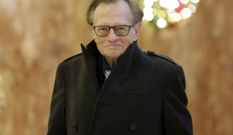 FILE - In this Dec. 1, 2016 file photo, Larry King arrives at Trump Tower in New York.  King, who interviewed presidents, movie stars and ordinary Joes during a half-century in broadcasting, has died at age 87. Ora Media, the studio and network he co-founded, tweeted that King died Saturday, Jan. 23, 2021 morning at Cedars-Sinai Medical Center in Los Angeles.  (AP Photo/Richard Drew, File)
