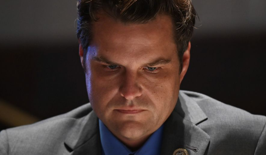 Rep. Matt Gaetz, R-Fla., listens during a House Judiciary Committee markup of the Justice in Policing Act of 2020 on Capitol Hill in Washington, Wednesday, June 17, 2020. (Erin Scott/Pool via AP)