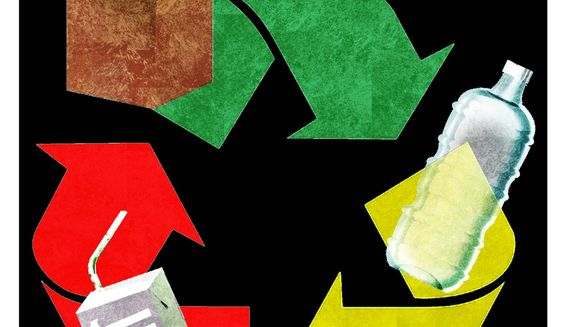 Illustration on improving recycling by Alexander Hunter/The Washington Times