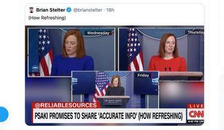 "Investigative journalist Glenn Greenwald responds to a CNN chyron about White House press secretary Jen Psaki that reads ""Psaki promises to share 'accurate info' (how refreshing),"" Jan. 25, 2021. (Image: Twitter, Glenn Greenwald)"