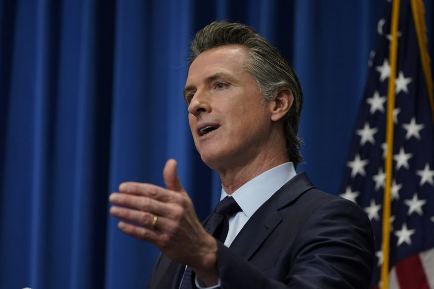 In this Jan. 8, 2021, file photo California Gov. Gavin Newsom outlines his 2021-2022 state budget proposal during a news conference in Sacramento, Calif. (AP Photo/Rich Pedroncelli, File, Pool)