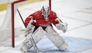 Washington Capitals goaltender Vitek Vanecek (41) in action during the second period of an NHL hockey game against the Buffalo Sabres, Sunday, Jan. 24, 2021, in Washington. (AP Photo/Nick Wass)