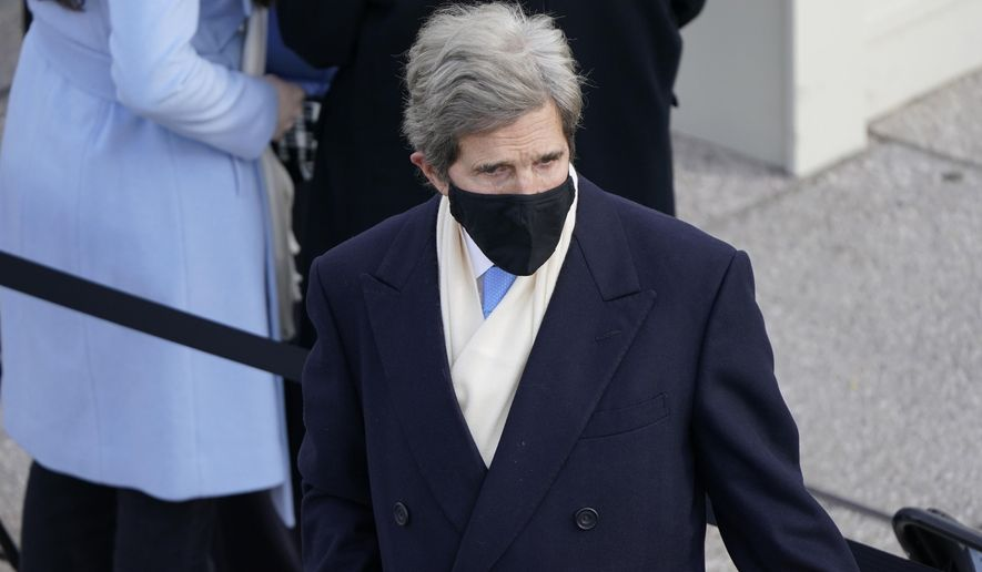 Former Secretary of State John Kerry arrives for the 59th Presidential Inauguration at the U.S. Capitol in Washington, Wednesday, Jan. 20, 2021. (AP Photo/Patrick Semansky, Pool)