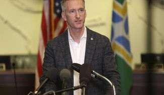 In this Aug. 30, 2020, photo, Portland Mayor Ted Wheeler speaks during a news conference. (Sean Meagher/The Oregonian via AP) **FILE**