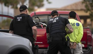 In this July 8, 2019, photo, U.S. Immigration and Customs Enforcement (ICE) officers detain a man during an operation in Escondido, Calif. (AP Photo/Gregory Bull) **FILE**