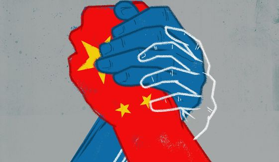 Illustration on US/China relations by Linas Garsys/The Washington Times