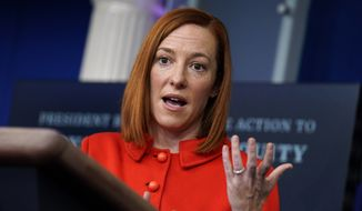 White House press secretary Jen Psaki speaks during a press briefing at the White House, Tuesday, Jan. 26, 2021, in Washington. (AP Photo/Evan Vucci)