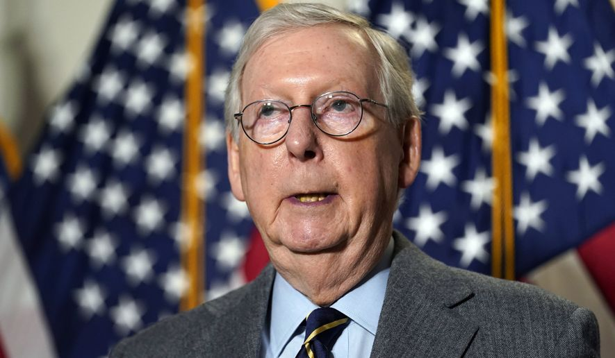 Senate Minority Leader Mitch McConnell of Ky., speaks during a news conference following a Republican policy luncheon on Capitol Hill in Washington, Tuesday, Jan. 26, 2021. (AP Photo/Susan Walsh) **FILE**