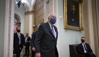 Sen. Patrick Leahy, D-Vt., the president pro tempore of the Senate, at the Capitol in Washington, Tuesday, Jan. 26, 2021. Mr. Leahy will preside in the impeachment of former President Donald Trump. (AP Photo/J. Scott Applewhite)  **FILE**