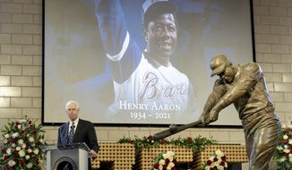 """Atlanta Braves Chairman Terry McGuirk speaks during """"A Celebration of Henry Louis Aaron,"""" a memorial service celebrating the life and enduring legacy of the late Hall of Famer and American icon, on Tuesday, Jan. 26, 2021, at Truist Park in Atlanta. (Kevin D. Liles/Atlanta Braves via AP Pool)"""
