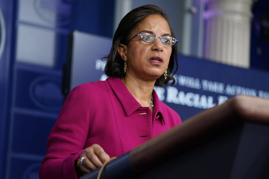 White House Domestic Policy Adviser Susan Rice speaks during a press briefing at the White House, Tuesday, Jan. 26, 2021, in Washington. (AP Photo/Evan Vucci) ** FILE **