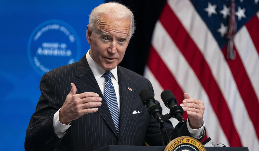 In this Jan. 25, 2021, file photo, President Joe Biden answers questions from reporters in the South Court Auditorium on the White House complex, in Washington. Biden is unlikely to confront China on trade right away because he wants to focus on the coronavirus and the economy, but he does look set to renew pressure over trade and technology grievances that prompted President Donald Trump to hike tariffs on Chinese imports in 2017. (AP Photo/Evan Vucci, File)