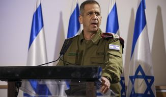FILE - In this Nov. 12, 2019 file photo, Aviv Kochavi, hold press conference following the killing of a senior Islamic Jihad commander in Gaza by Israel, in Tel Aviv, Israel.  Kochavi on Tuesday, Jan. 26, 2021 warned the Biden administration against rejoining the 2015 Iran nuclear deal, even if it toughens its terms, adding he's ordered his forces to step up preparations for possible offensive action against Iran during the coming year. (AP Photo/Oded Balilty, File)