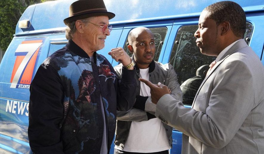"""This image released by NBC shows, from left, Don Johnson as Rick, Chris Redd as Gary, and Kenan Thompson as Kenan in a scene from the comedy series """"Kenan,"""" premiering on Feb. 16. (Casey Durkin/NBC via AP)"""