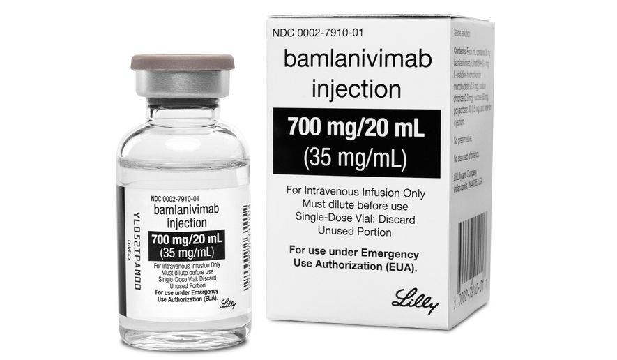 This photo provided by Eli Lilly shows the drug bamlanivimab. On Tuesday, Jan. 26, 2021, the company said that the two-antibody combo of bamlanivimab and etesevimab reduced the risk of hospitalizations or death by 70% in newly diagnosed, non-hospitalized COVID-19 patients at high risk of serious illness because of age or other health conditions. (Eli Lilly via AP)