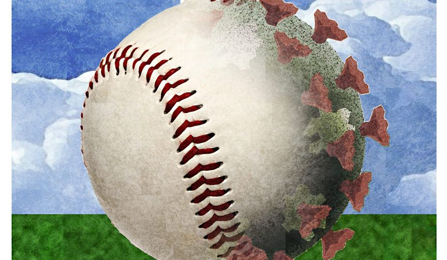 Illustration on baseball and COVID by Alexander Hunter/The Washington Times
