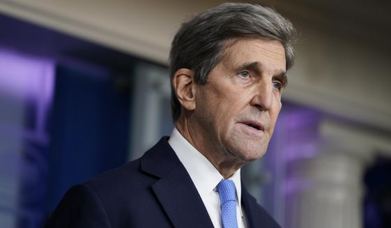 Special Presidential Envoy for Climate John Kerry speaks during a press briefing at the White House, Wednesday, Jan. 27, 2021, in Washington. (AP Photo/Evan Vucci)