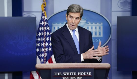 Special Presidential Envoy for Climate John Kerry speaks during a press briefing at the White House, Wednesday, Jan. 27, 2021, in Washington. (AP Photo/Evan Vucci) ** FILE **