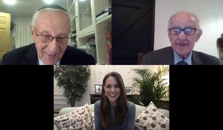 In this photo released by Kensington Palace on Wednesday, Jan. 27, 2021, Kate, the Duchess of Cambridge smiles during a video call with Manfred Goldberg, right, and Zigi Shipper, as she spoke with Holocaust survivors and youth ambassadors from the Holocaust Educational Trust to mark Holocaust Memorial Day. (Kensington Palace via AP)