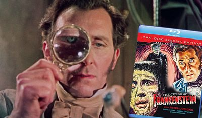 """Peter Cushing in """"The Curse of Frankenstein,"""" now available on Blu-ray as part of the Warner Archives Collection."""