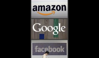 This photo combo of images shows the Amazon, Google and Facebook logos. (AP Photo, file)  **FILE**