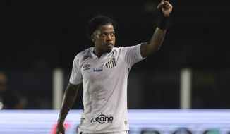 Marinho of Brazil's Santos celebrates after scoring his side's 2nd goal during a Copa Libertadores quarterfinal second leg soccer match against Brazil's Gremio in Santos, Brazil, Wednesday, Dec. 16, 2020. (Amanda Perobelli/Pool via AP)