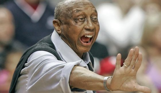 FILE - In this Feb. 25, 2006, file photo, Temple head coach John Chaney yells directions to his players during the the first half of an NCAA college basketball game against Duke in Philadelphia, in this Saturday, Feb. 25, 2006, file photo. John Chaney, one of the nation's leading Black coaches and a commanding figure during a Hall of Fame basketball career at Temple, has died. He was 89. His death was announced by the university Friday, Jan. 29, 2021. (AP Photo/Tom Mihalek, File)