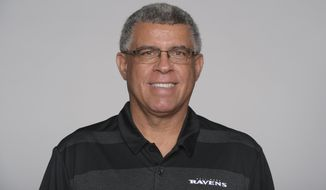 FILE - This is an Aug. 17, 2020, file photo showing David Culley of the Baltimore Ravens NFL football team. David Culley has been hired as the coach of the Houston Texans, a person familiar with the hiring told The Associated Press. The person spoke to the AP on condition of anonymity Wednesday night, Jan. 27, 2021, because the hiring hasn't been announced. (AP Photo)