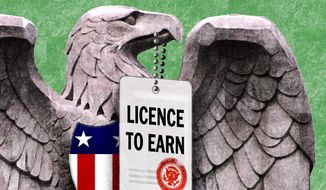 Illustration on Federal business licensing by Alexander Hunter/The Washington Times