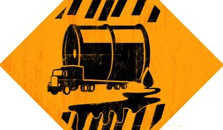 Illustration on the cancelled XL pipeline by Linas Garsys/The Washington Times