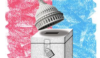 Illustration on the dangers of Federalizing elections by Alexander Hunter/The Washington Times
