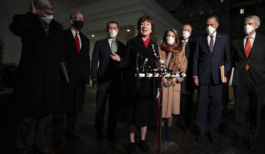 Sen. Susan Collins, R-Maine, speaks after meeting President Joe Biden and Vice President Kamala Harris to discuss a coronavirus relief package, in the Oval Office of the White House, Monday, Feb. 1, 2021, in Washington. Listening are from left, Sens. Bill Cassidy, R-La., Jerry Moran, R-Kan., Todd Young, R-Ind., Lisa Murkowski, R-Alaska, Shelley Moore Capito, R-W.Va., Thom Tillis, R-N.C., Mitt Romney, R-Utah, and Rob Portman, R-Ohio. (AP Photo/Evan Vucci)
