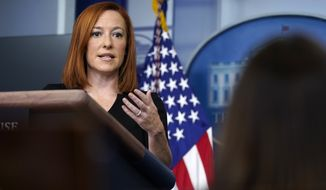 White House press secretary Jen Psaki speaks during a press briefing at the White House, Monday, Feb. 1, 2021, in Washington. (AP Photo/Evan Vucci)