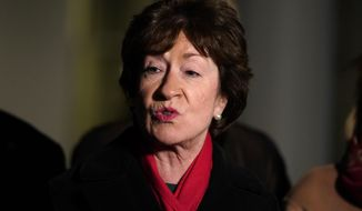 Sen. Susan Collins, R-Maine, speaking after meeting President Joe Biden and Vice President Kamala Harris to discuss a coronavirus relief package, in the Oval Office of the White House, Monday, Feb. 1, 2021, in Washington. (AP Photo/Evan Vucci)