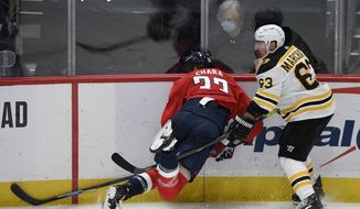 Washington Capitals defenseman Zdeno Chara (33) is tripped next to Boston Bruins left wing Brad Marchand (63) during the second period of an NHL hockey game, Monday, Feb. 1, 2021, in Washington. (AP Photo/Nick Wass) **FILE**