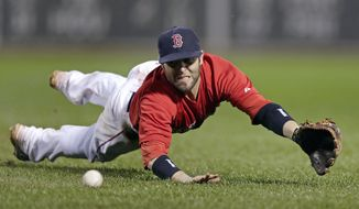 In this June 13, 2014, file photo, Boston Red Sox second baseman Dustin Pedroia dives to make the play on a ground out by Cleveland Indians' Lonnie Chisenhall during the sixth inning of a baseball game at Fenway Park in Boston. Pedroia, who was the 2007 Rookie of the Year and the AL MVP in his second season, retired Monday, Feb. 1, 2021. (AP Photo/Charles Krupa, File) **FILE**