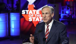 Texas Gov. Greg Abbott prepares to deliver his State of the State speech at Visionary Fiber Technologies, for the first time outside the Capitol, Monday, Feb. 1, 2021, in Lockhart, Texas. (Bob Daemmrich/Pool Photo via AP)