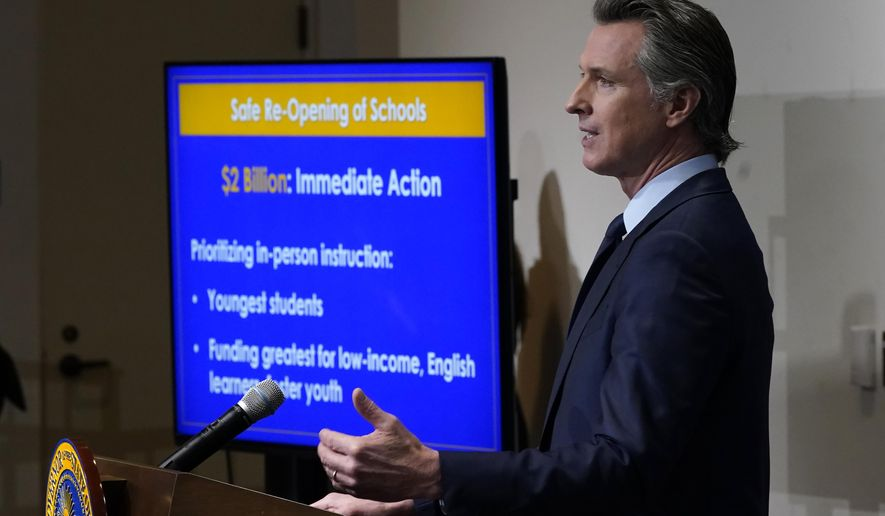 FILE - In this Jan. 8, 2021, file photo, California Gov. Gavin Newsom outlines the safe re-opening of schools while speaking about his 2021-2022 state budget proposal during a news conference in Sacramento, Calif. An effort to reopen California schools is foundering, stoking frustrations across America's most populous state from parents eager to get their children back in classrooms and a governor who wants them there. (AP Photo/Rich Pedroncelli, Pool, File)