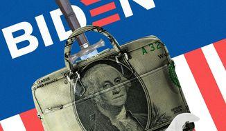 Illustration on Biden economic policy by Linas Garsys/The Washington Times