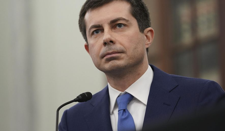 In this Jan. 21, 2021, file photo, Transportation Secretary nominee Pete Buttigieg speaks during a Senate Commerce, Science and Transportation Committee confirmation hearing on Capitol Hill in Washington. (Stefani Reynolds/Pool via AP)